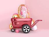 metallic red wagon wheels and clear gold balloon group 3d rendering