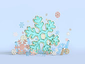 3d rendering snowflake green blue abstract clear material