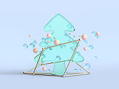 abstract clear material 3d rendering christmas tree green blue