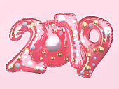 pink clear glossy balloon number 2019 floating 3d rendering