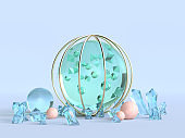 green clear sphere blue background 3d rendering winter abstract concept
