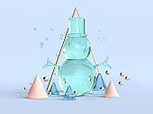 abstract clear material 3d rendering snow man green blue winter christmas concept