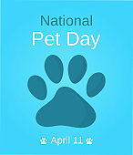 National Pet Day banner with paw. Vector illustration.