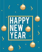 New Year. Greeting card with New Year calligraphy and gold paint smudges. Festive background for winter holidays - Illustration