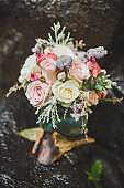 Decoration of wedding ceremony with white and pink rose flowers arrangement