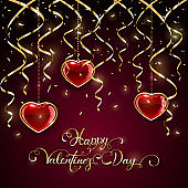 Happy Valentines Day with tinsel and hearts on dark background