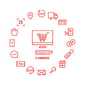 thin line red icons for e-commerce