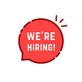 red cartoon linear we are hiring