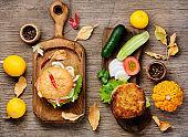 Diet hamburger with vegetables