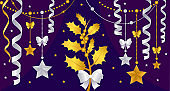 Gold Christmas decorations on a purple background vector illustration