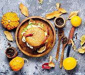 Diet hamburger with pumpkin
