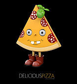 3d Illustration of Slice of animate fresh Pepperoni Pizza, isolated on black background
