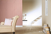 pattern pink wall and stair in living room