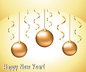 Greeting card with gold Christmas balls