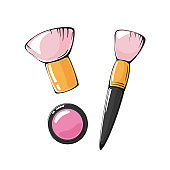 vector illustration of pink blush and makeup brush