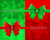 Christmas card with green and red bows