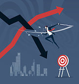 Cut loss. Stock market strategy by stopping losses. Business concept vector