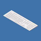 Modern computer keyboard. Isometric vector illustration