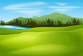 Background scene with green field