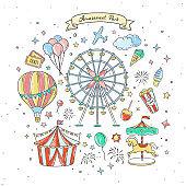 Amusement park cute elements and illustrations. Vintage fair vector drawings