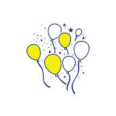 Party balloons and stars icon