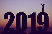 New year 2019 silhouette with cheering man as symbol for success