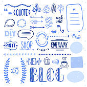 Hand drawn graphic set for blog design. Cute doodle elements for decorations