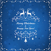 New Year and Chritmas greeting card. Background with reindeers and snowflakes in blue star sky.