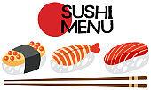 A Japanese Sushi Menu Set