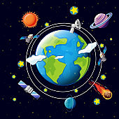 Space theme with satellites and planets around earth