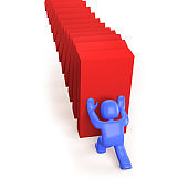 3d man pushing and stopping dominoes falling, 3D illustration