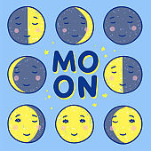 Phases of the moon cute illustrations. Hand drawn night moon faces with stars
