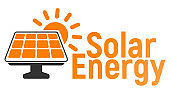 Solar battery Logo and Icon. Energy label for Web on white background. Flat Vector Illustration