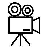 Movie camera line icon. Video camera vector illustration isolated on white. Camcorder outline style design, designed for web and app. Eps 10.