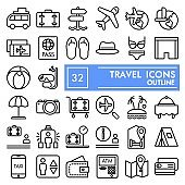 Travel line icon set, vacation symbols collection, vector sketches, logo illustrations, tourism signs linear pictograms package isolated on white background, eps 10.