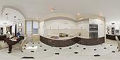 3d illustration spherical 360 seamless panorama of kitchen