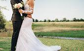 Newlyweds couple together on wedding day