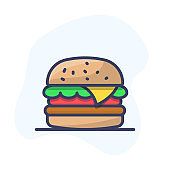 Burger Vector Icon. Fast Food Vector Line Icon. Hamburger Outline Illustration.