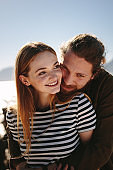 Couple in a happy and romantic mood on beach