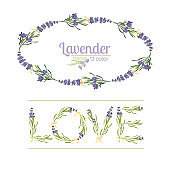 Typography slogan with lavender flower text Love for t shirt printing, embroidery, design. Graphic and printed tee