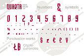 Suprematism style decorative alphabet, typeface. Pop art font for slogan graphic print, hipster fashion, geometric pattern, vintage poster