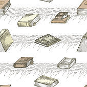 Seamless pattern with hand drawing sketch vintage books for concept design fair or festival flyer, paper, banner, school library, retro poster, bookshop advertising in engraving style