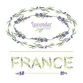 Typography slogan with lavender flower text France for t shirt printing, embroidery, design. Graphic and printed tee
