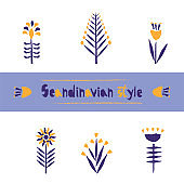 Set Flower pattern in Scandinavian style, stylization of torn paper edge. Beautiful template for decoration design.