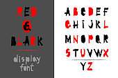 Trendy realistic torn paper art alphabet set on white background.