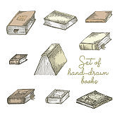 Set of hand drawing sketch books for concept vintage design fair or festival flyer, paper, banner, school library retro poster, bookshop advertising. in engraving style