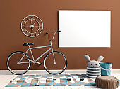 Modern interior with  posters and bicycle. poster mock up. 3D illustration