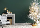 Modern shining Christmas interior with fireplace, Scandinavian style. Wall mock up. 3D illustration