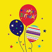 Happy birthday card with colorful decorative balloon design