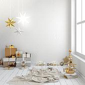 Modern Christmas interior, Scandinavian style. Wall mock up. 3D illustration